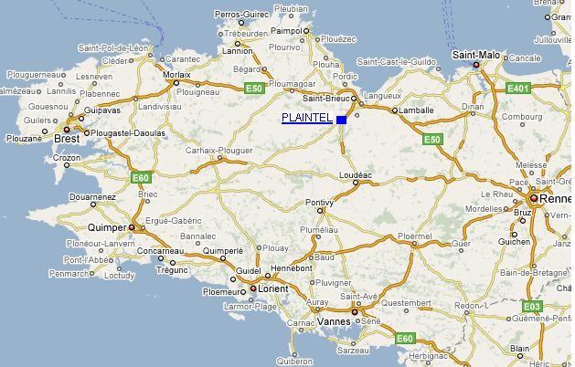 Carte : Plaintel au coeur de la Bretagne